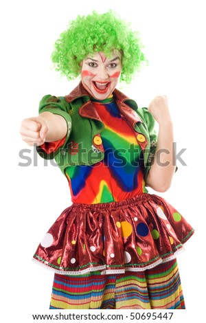 Portrait of joyful female clown. Isolated on white background
