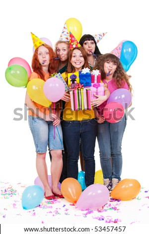 portrait of joyful women with gifts and balloons. isolated on white background - stock photo