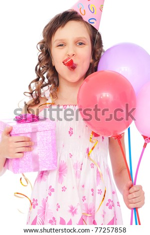 portrait of joyous girl with balloons and gift box - stock photo