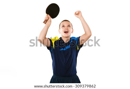 Portrait Of Kid celebrating flawless victory in table tennis isolated on white background - stock photo