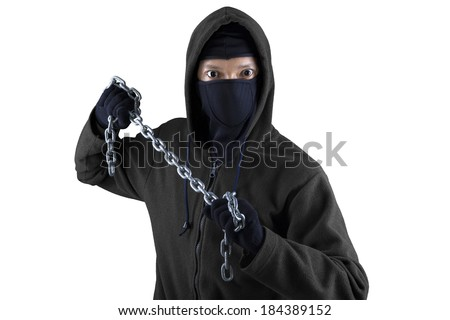 Portrait of killer holding chain isolated on white background