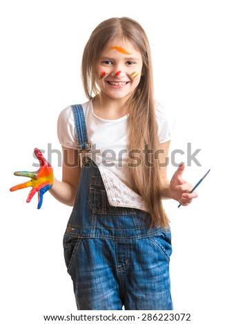 Portrait of laughing girl with painted face over white background - stock photo