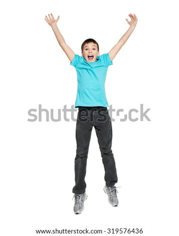 Portrait of  laughing happy teen boy jumping with raised hands up - isolated on white background - stock photo