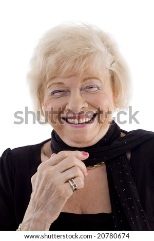 portrait of laughing old female on an isolated white background - stock photo