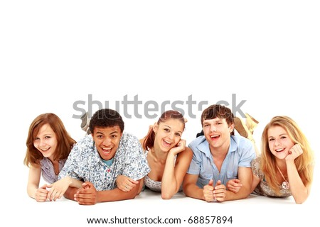 Portrait of laughing young friends having fun