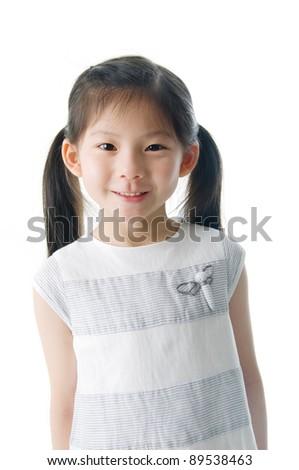portrait of little asian girl - stock photo