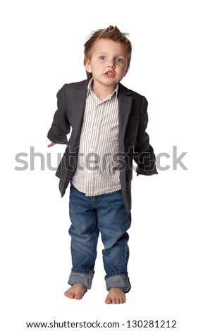 Portrait of  little boy in suit. Isolated over white background.