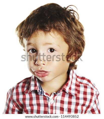 portrait of little boy isolated on white background - stock photo