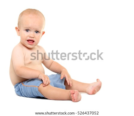 Portrait of little boy on the white background