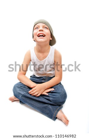 Portrait of little boy smiling - stock photo