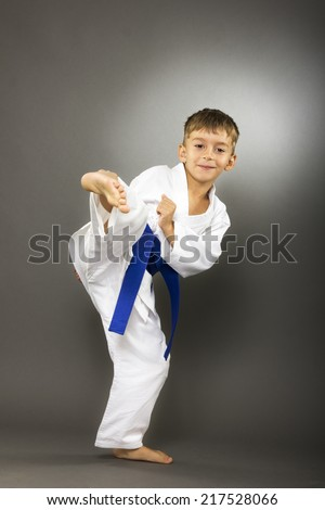 Portrait of little boy training karate isolated on gray background - stock photo