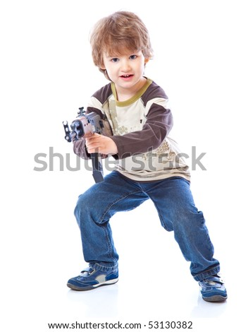 Portrait of little boy with automatic weapon (Kalashnikov). Isolated on white background