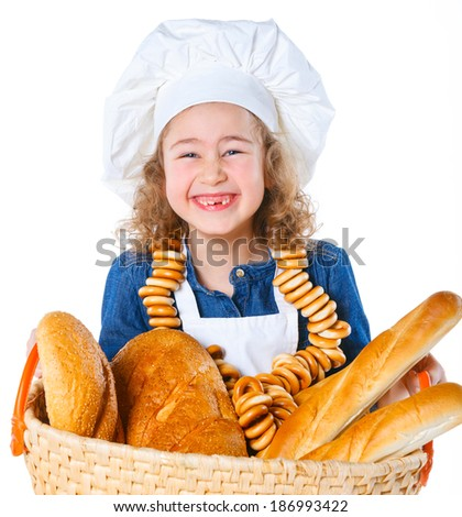 Portrait of Little Cook With A Backet With Bread. Isolated on white background. - stock photo