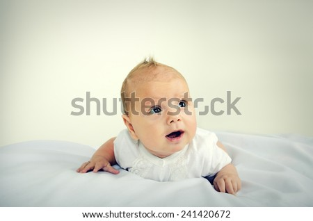 Portrait of little cute baby - stock photo