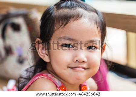 portrait of little girl at happy time