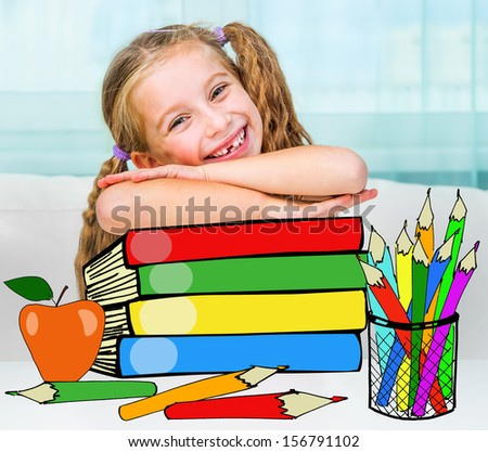 Portrait of little girl at workplace with the books - stock photo