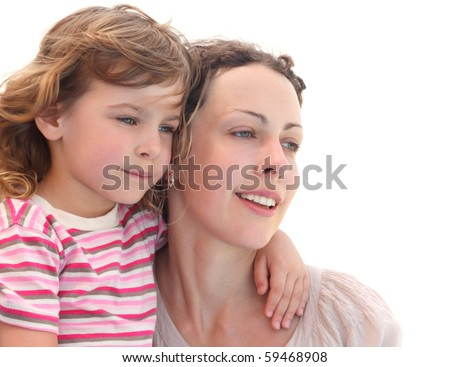 portrait of little girl embracing her mother, half body, isolated on white