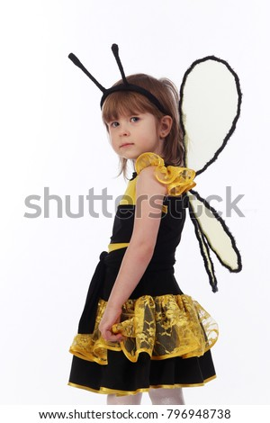 Portrait of little girl in bee costume on white background studio  sc 1 st  Shutterstock : ladies bee costume  - Germanpascual.Com