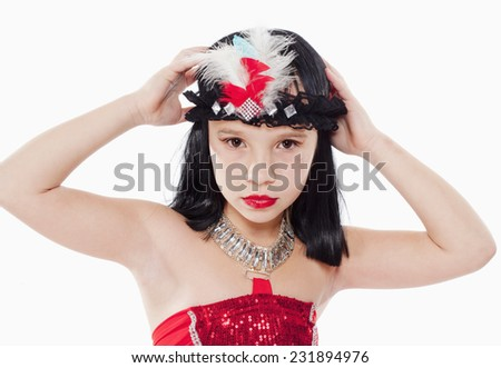 Portrait of Little Girl in Wig and Red Dress in 1930ties Style