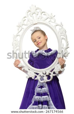 Portrait of little girl isolated - stock photo