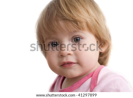 portrait of little girl on a white background