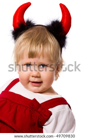 Portrait of little girl wearing devil's horns isolated - stock photo