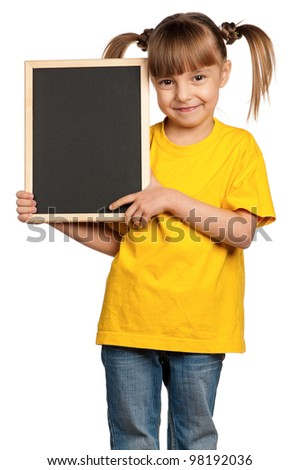Portrait of little girl with blackboard isolated on white background