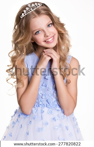 Portrait of little girl with diadem and curly hair. Princess. - stock photo