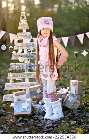 portrait of little  girls in a Christmas style - stock photo