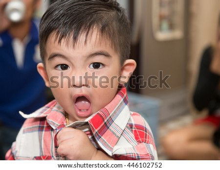 Portrait of little kid are angry