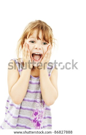 Portrait of little surprised girl excited scared. Isolated on white background