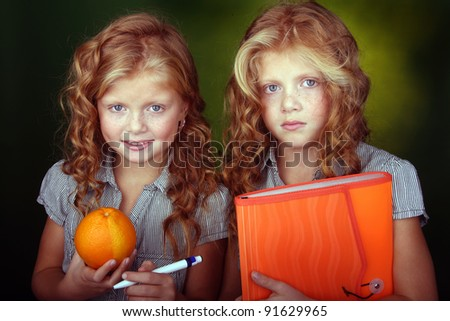 Portrait of little twin sisters - stock photo