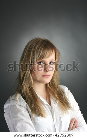 Portrait of long hair attractive young woman - stock photo