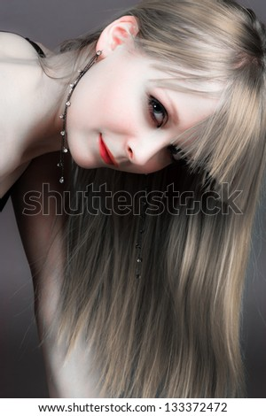 portrait of long-haired beautiful girl