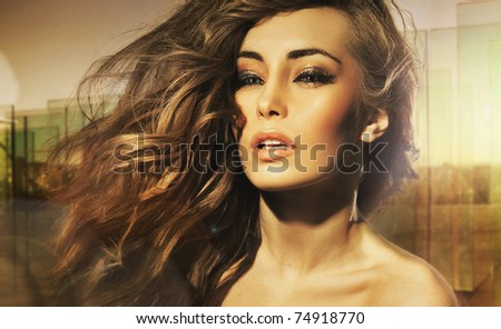 Portrait of long-haired beauty - stock photo