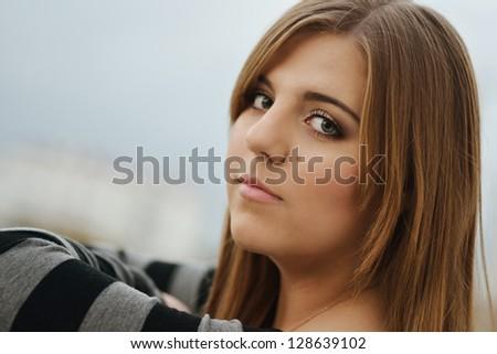 portrait of longhaired teen girl - stock photo