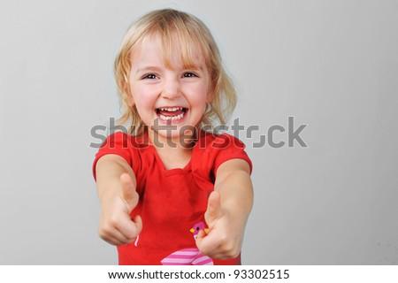 Portrait of lovely blond little girl - stock photo
