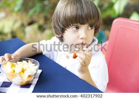 Portrait of Lovely Boy Having Picnic - stock photo