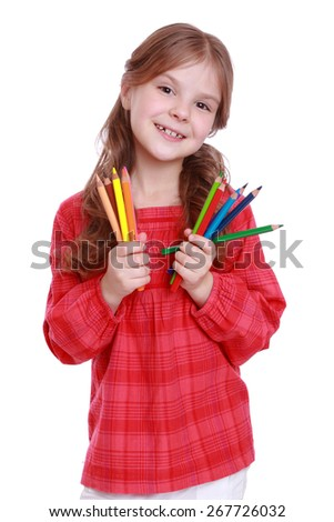 Portrait of lovely girl holding a pencil isolated on white - stock photo