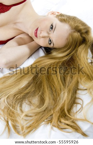 portrait of lying down woman - stock photo