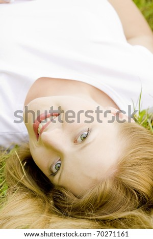 portrait of lying woman - stock photo