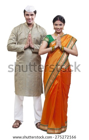 Portrait of Maharashtrian couple greeting - stock photo