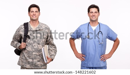 Portrait of male nurse and soldier posing   - stock photo