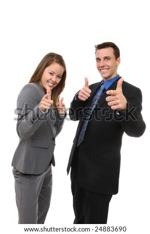 Portrait of man and woman business team pointing isolated over white.