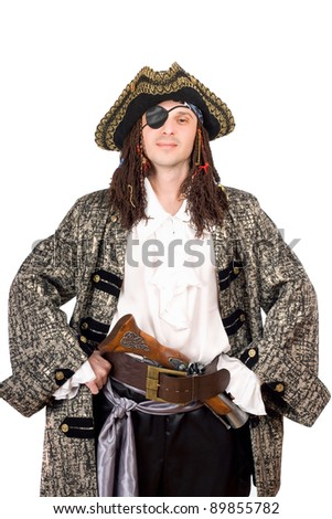Portrait of man dressed as pirate. Isolated on white