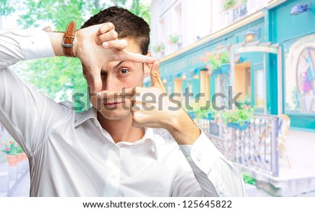 Portrait Of Man Gesturing, outdoor