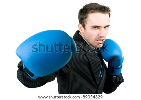 Portrait of man, handsome male model in gloves boxing at work - studio shot on white background - stock photo