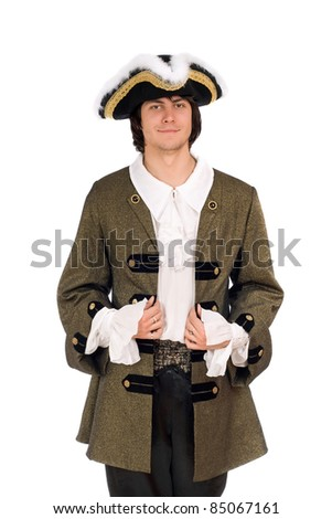 Portrait of man in a historical costume. Isolated - stock photo