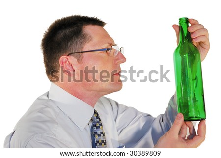 portrait of man in glasses with a bottle on white background