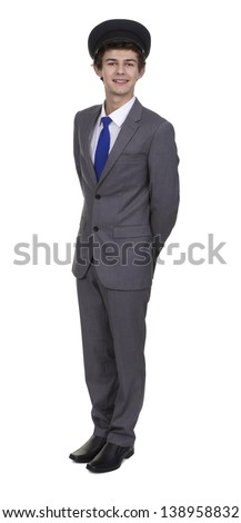 Portrait Of Man In Suit Wearing Cap Isolated Over White Background